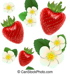Red ripe strawberries. Seamless background