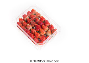 red ripe strawberry in plastic box of packaging