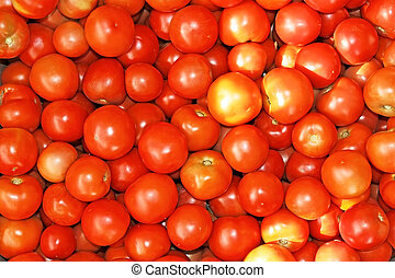 Red ripe tomatoes heap
