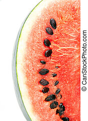 red ripe watermelon slice isolated on white background