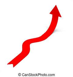 Red rising arrow symbol