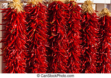 Red, ristra hanging peppers