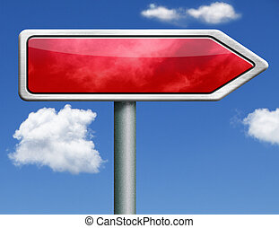 red road sign arrow