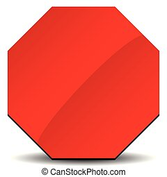 Red road sign, stop sign clip-art on white