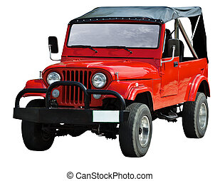 Red road vehicle on white background