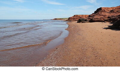 Red rock beach. Wide. - Beach with red rocks. Prince Edward...