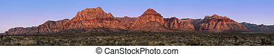 Panorama of Red Rock Canyon, Nevada, USA, at sunrise with yacca and Joshua trees in the foreground