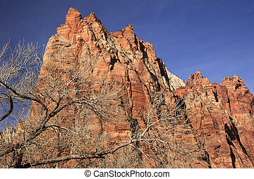 Red Rock Cliff Court of Patriarchs Zion Canyon National Park Utah Southwest