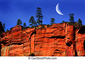 Red Rock Cliff Face Zions National Park Utah Wilderness Mountains Crescent Moon