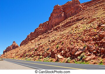 Red Rock Cliffs Near the Highway in Arizona