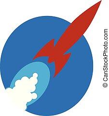 Red rocket blast off - Vintage red rocket ship flying across...