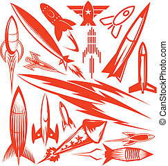 Clip art collection of various types of rocket