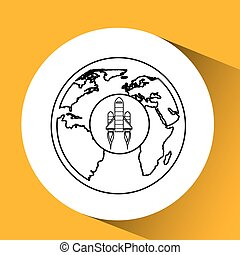 red rocket concept business globe