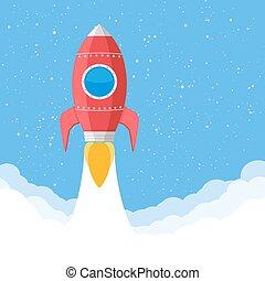 Red Rocket - Flying rocket, flat design, vector eps10...