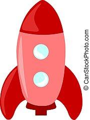 Red rocket, illustration, vector on white background.