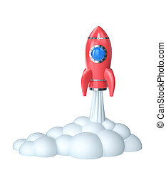 Red rocket launch isolated on white. Clipping path included