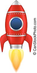 Red Rocket - Red rocket with flame, vector eps10...