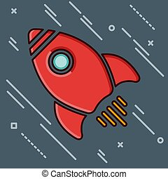 Red rocket ship in a flat style