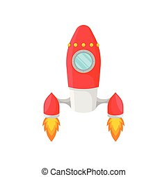 Red rocket with porthole. Vector illustration on white background.