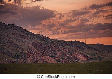 Red Rocks Amphitheatre at Sunset. Morrison near Denver,...