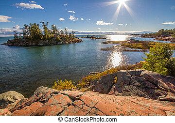 Red rocks at Georgian Bay Ontario Canada