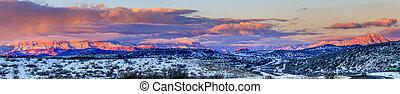 Red Rocks panorama at sunset