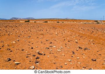 Red rocky desert in Fuerteventura