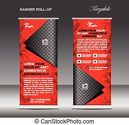 Red Roll up banner template vector, stand, flyer design,...