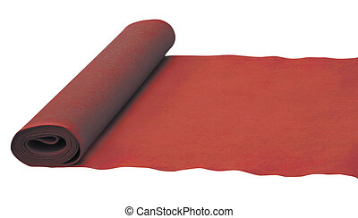 Red rolled carpet isolated on white.