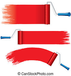 Red Roller Brush Painting Strokes on Wall. Vector - Red...
