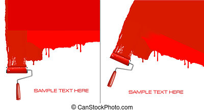 Red roller painting the white wall. Background vector.