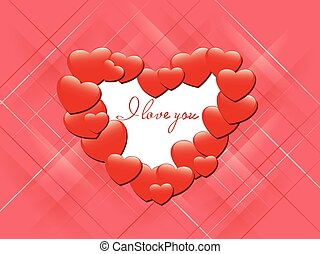 red romantic card - I love you