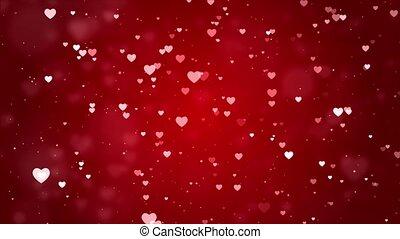 Red Romantic hearts bokeh Seamless loop background 4K ...