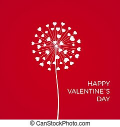 Red Romantic Valentine's background. White Dandelions with hearts. February 14 holiday of love. Vector