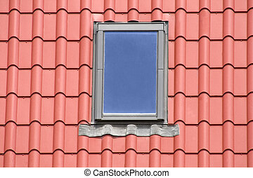 Red roof background with windows
