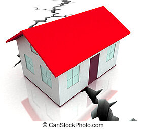 Red Roof House On Crack Shows Disaster - Red Roof House On...