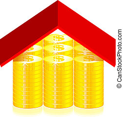 Red roof on the dollar coins