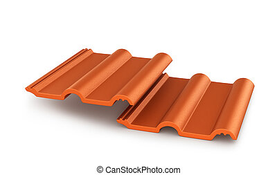 Red roof tiles isolated on white background. 3d illustration...