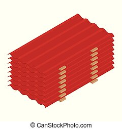 Red roof tiles profile isometric view isolated on white background