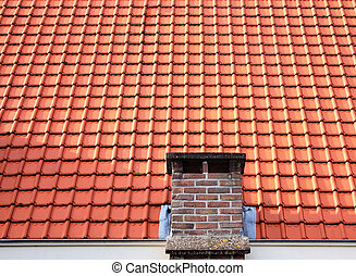 Red roof tiles with chimney