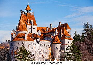 Red roofs of Bran Castle (Dracula castle) in Transylvania and Wallachia, Romania