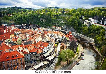 Cesky Krumlov - Red roofs of Cesky Krumlov, Czech repoublic