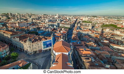 Red roofs of city centre and Clerigos church -  view from Clerigos Tower in Porto timelapse, Portugal