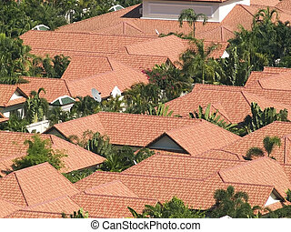 Red rooftops in a densely populated residential area, with palm-trees between the houses.