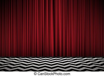 Horisontal Background With Red Velvet Curtains And Black White Floor