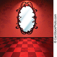 Red room with mirror and checkered floor