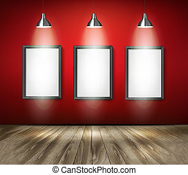 Red room with spotlights and wooden floor. Vector.