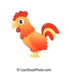 Red rooster. Fiery cock. Symbol of 2017 on the Chinese...