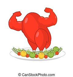 Red rooster strong on plate with vegetables. Red cock Symbol of new year. Powerful baked turkey with big biceps. Game bodybuilder. Fitness food for holiday. Sports fried chicken