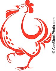 Red rooster - Vector illustration of red rooster